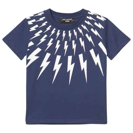 Neil Barrett Navy Lightning Bolts Print Tee 60