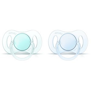 Image of Philips Avent 2-Pack Mini Soother 0-2M Blue/Green (3148271589)