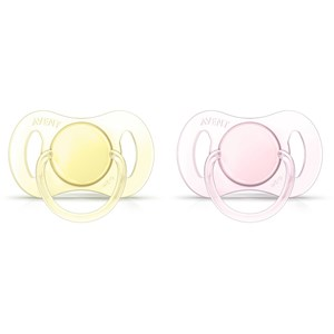 Image of Philips Avent 2-Pack Mini Soother 0-2M Yellow/Pink (3148271587)