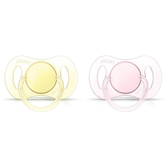 Philips Avent 2-Pack Mini Soother 0-2M Yellow/Pink Multi