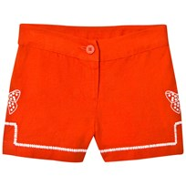 Stella McCartney Kids Red Kai Linen Embroidered Shorts 6562