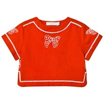 Stella McCartney Kids Red Julienne Blouse with Bow Embroidery 6562