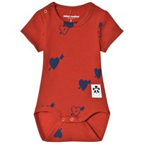 Mini Rodini Heart Ribbad Baby Body Röd Red
