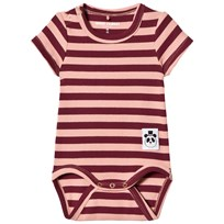 Mini Rodini Stripe Rib Baby Body Pink Pink