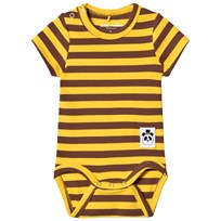 Mini Rodini Stripe Rib Baby Body Yellow Yellow