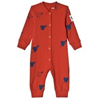 Mini Rodini Heart Ribbad Bodysuit Röd Red