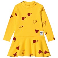 Mini Rodini Heart Ribbad Dance Klänning Gul Yellow