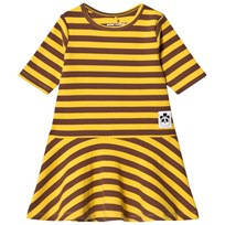 Mini Rodini Stripe Rib Dance Dress Yellow Yellow