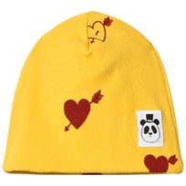 Mini Rodini Heart Rib Beanie Yellow Yellow