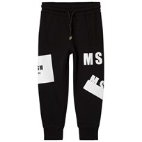 MSGM Black Repeat Logo Sweatpants 110