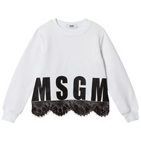 MSGM White and Black Lace Hem Logo Sweatshirt 001