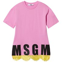 MSGM Pink Lace Hem Logo Dress 042