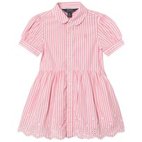 Ralph Lauren Pink and White Bengal Stripe Dress with Eyelet Hem 002