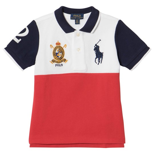 Ralph Lauren White, Red and Navy Big Pony Polo 001