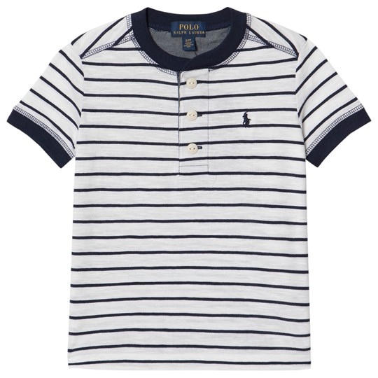 Ralph Lauren White and Navy Stripe Henley Tee 003