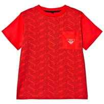 Armani Junior Red Eagle Branded Front Pocket Tee 1664