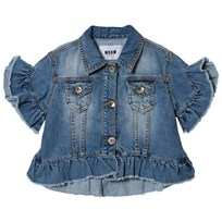 MSGM Light Wash Frill Hem Cropped Denim Jacket 026