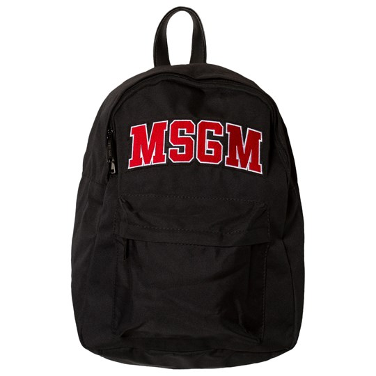 MSGM Black Logo Backpack with Leather Straps 110