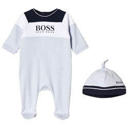 BOSS Pale Blue Branded Footed Baby Body Set