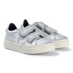 Veja Esplar Velcro Leather Silver Sneakers