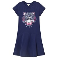 Kenzo Navy Tiger Print Jersey Skater Dress 49