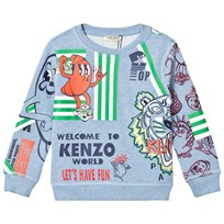 Kenzo Blue Marl Multi Icon and Food Fiesta Print Sweatshirt 420