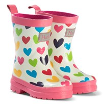 Hatley Rainbow Hearts Rain Boots White Cream