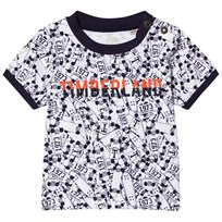 Timberland Skateboard Print Tee White and Navy 10B