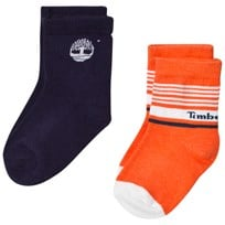 Timberland 2 Pack of Orange and Navy Branded Socks X78