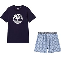 Timberland Navy Logo Tee and Shorts Pajama Set Z40