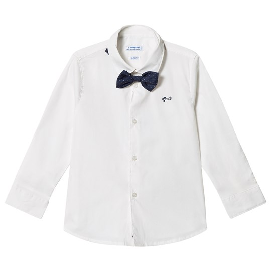 Mayoral White Long Sleeve Shirt with a Bowtie 56