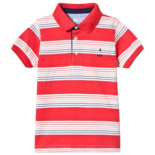 Mayoral Red Stripe Short Sleeve Polo 80