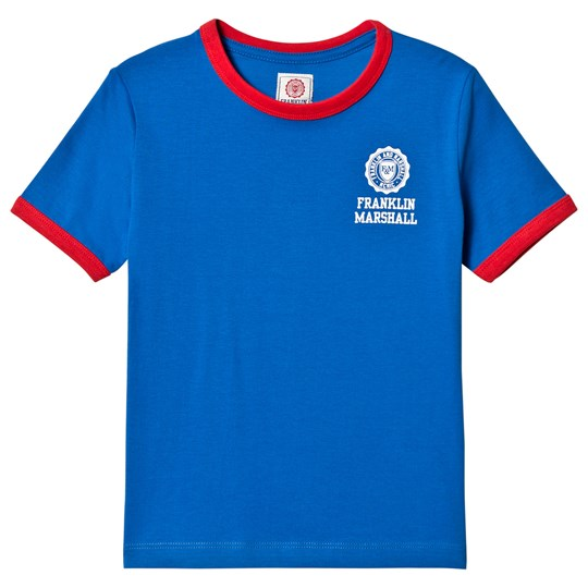 Franklin & Marshall Blue and Red Retro Logo Ringer Tee VICTORIA BLUE