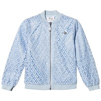 Le Chic Pale Blue Crochet Lace Bomber Jacket with Glitter Trims 113