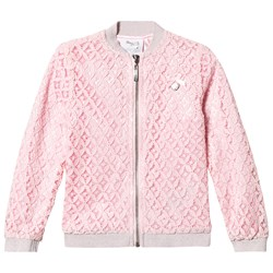 Le Chic Pink Crochet Lace Bomber Jacket with Glitter Trims
