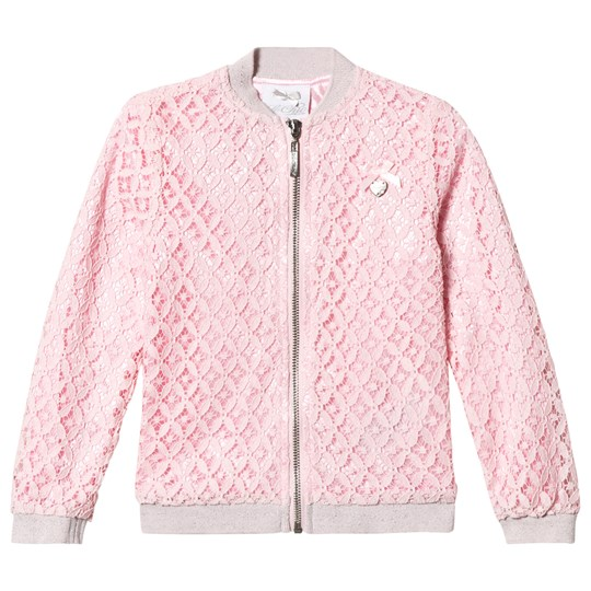 Le Chic Pink Crochet Lace Bomber Jacket with Glitter Trims 215