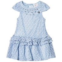 Le Chic Blue Crochet Lace Party Dress with Jewel Detail 113