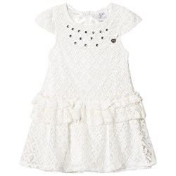 Le Chic White Crochet Lace Party Dress with Jewel Detail