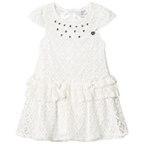 Le Chic White Crochet Lace Party Dress with Jewel Detail 003