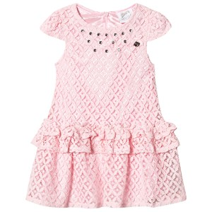 Image of Le Chic Pink Crochet Lace Party Dress with Jewel Detail 164 (13-14 years) (2943826757)