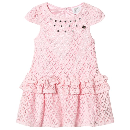 Le Chic Pink Crochet Lace Party Dress with Jewel Detail 215