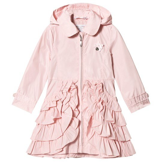 Le Chic Pink Ruffle Hooded Coat 215