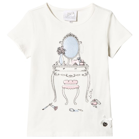 Le Chic Cream Glitter Dressing Table Print Tee 003