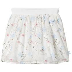 Le Chic Off-white Flora lEmbroidered and Applique Tulle Skirt