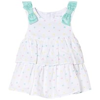 Mayoral White Spotty Embroidered Layered Dress 40