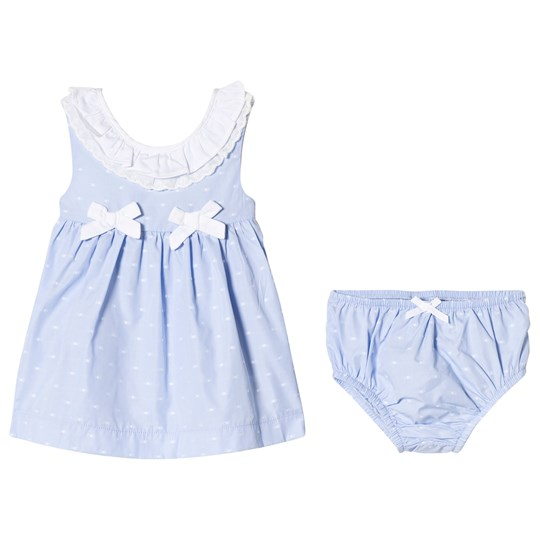 Mayoral Blue Spotty Frill Collar Dress with Knickers 54