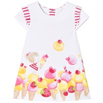 Mayoral White and Ice Cream Print Dress with Striped Back 14