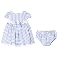 Mayoral Blue Striped Dress with Flower Applique and Knickers 38