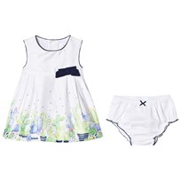 Mayoral White Cactus Print and Bow Dress with Knickers 66