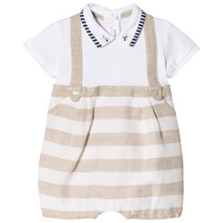 Mayoral 2-in-One Beige Stripe Overalls and Baby Body